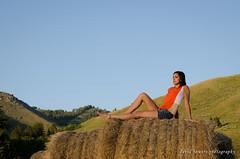 Haystack (nevadoyerupaja) Tags: ranch horses orange woman usa girl shirt model nikon pretty farm western haystack shorts wyoming hay bluejeans nikkor60mmf28 nikond7000