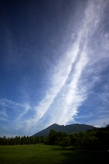 Heavenly Tower (jasohill) Tags: blue green tower nature japan vertical clouds forest japanese power angle wide backgrounds 日本 column 雲 岩手県 heavenly 2012 mtiwate 岩手山 八幡平市 gettyimagesjapan12q3