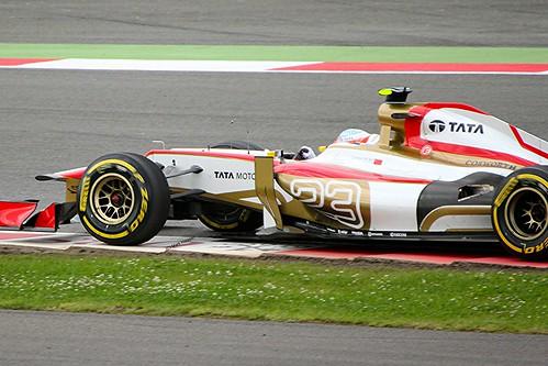 Narain Karthikeyan's HRT at Silverstone