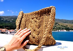 feel the summer (dimitra_milaiou) Tags: life blue light sea summer woman sun color colour art love me water bag island greek design living nikon knitting holidays day pattern hand view natural handmade d touch joy hellas knit greece hora create knitted needles shape pure 90 vacations chora andros cyclades dimitra d90              milaiou