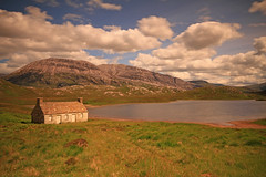 A North Highland Scene. (Gordie Broon.) Tags: summer mountain nature water clouds landscape geotagged photography scotland scenery alba ruin scenic escocia sutherland corbett schottland ecosse scottishhighlands arkle supershot northwestscotland achfary rhiconich lochstack laxfordbridge canoneos7d bestcapturesaoi gordiebroon