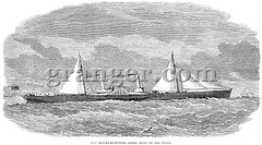 0041000 (Granger Historical Picture Archive) Tags: ocean english america dock sailing exterior navy lizzie confederate civilwar american maritime engraving transportation steamboat middle rampart 1864 blockaderunner confederatearmy