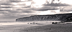 Fishermen and Speeton Cliffs (Sepia) (IanAndrews1957) Tags: sea bw landscape coast fishermen yorkshire northyorkshire filey reighton speeton