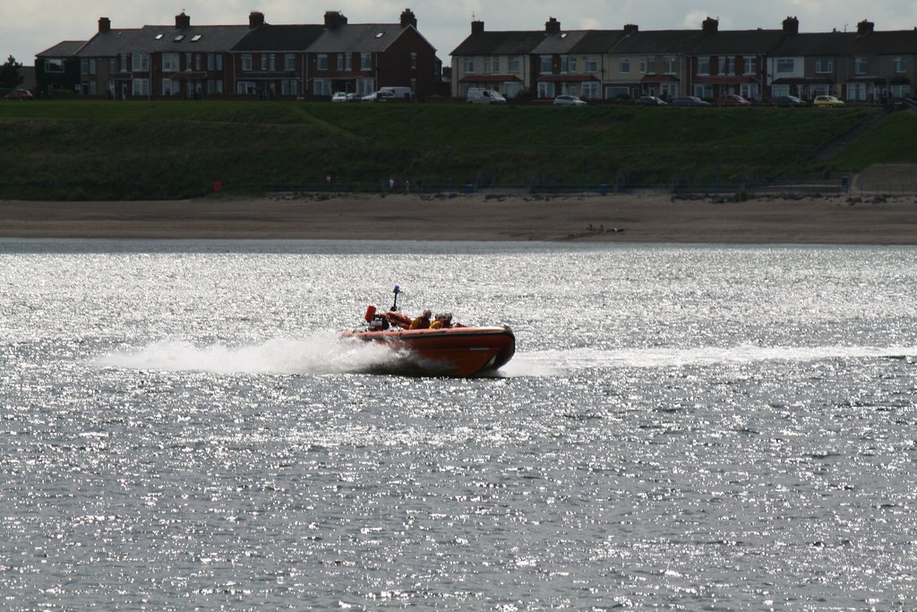 Lifeboat crew out in the lifeboat - Newbiggin by the Sea RNLI day, Newbiggin, Northumberland