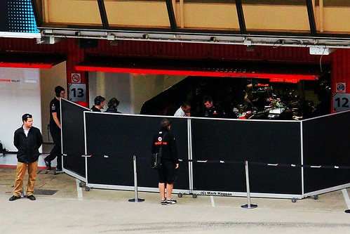 Lewis Hamilton in the McLaren Garage at Formula One Winter Testing, Circuit de Catalunya, March 2012