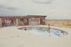 (yyellowbird) Tags: arizona selfportrait abandoned pool girl graffiti route66 desert ghosttown cari twoguns gorgeousfemale awesomeplaces