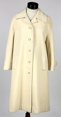 3024. White Wool Full Length Coat