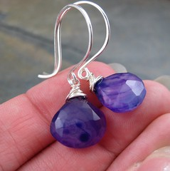 Purple Chalcedony and Sterling Silver Earrings (AshleighAnnette) Tags: silver beads drops juicy wire hammered purple bright handmade earring violet wrapped drop faceted bead sterling earrings hook tear dangle plump banded chalcedony briolettes