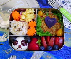 Panda Egg Salmon Patty Bear Onigiri Lunchbots Bento (sherimiya ) Tags: bear school cute face lunch kid healthy corn strawberry panda burger tomatoes sheri egg salmon blueberry lettuce homemade onigiri grapes carrot bento trio patty obento riceball pluot okinawansweetpotato wholesomelunchbox sherimiya lunchbot