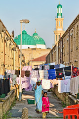 Streets of Keighley: Where East Meets West (tj.blackwell) Tags: life uk england lines rural asian countryside town industrial cityscape bradford britain district indian yorkshire terraces victorian culture mosque clothes housing pakistani townscape washing communities airedale drying keighley westriding bradfordstreet markazijamia