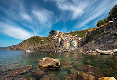 Summer On the Rocks - (Riomaggiore, Italy) (blame_the_monkey) Tags: sea italy coast fishing italian nikon italia village liguria coastline cinqueterre riomaggiore wideangel 5terre 5lands d700