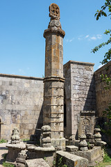 Pendulous column, Tatev Monastery (Dr. Harout) Tags: church architecture zeiss prime sony historic christian armenia column za amount apostolic carlzeiss tatev  syunik  sal24f20z distagont224 slta77v  pendulouscolumn gavazan gavazansyun