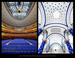 Sheffield City Hall (Mark Sykes Photography) Tags: city uk greatbritain blue light england white english window modern bar stars nikon theater theatre unitedkingdom cityhall interior sheffield yorkshire curves north columns skylight wideangle ceiling indoors chandelier seats balconies british pillars venue auditorium civichall southyorkshire emptyseats sheffieldcityhall arichitecture balcont rowsofseats d700 nikon1424