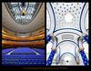 Sheffield City Hall (Mark Sykes Photography) Tags: city uk greatbritain blue light england white english window modern bar stars nikon theater theatre unitedkingdom cityhall interior sheffield yorkshire curves north columns skylight wideangle ceiling indoors chandelier seats balconies british pillars venue auditorium civichall southyorkshire emptyseats sheffieldcityhall arichitecture balcont rowsofseats d700 nikon1424