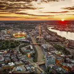 Fenway Park in the Sunset (Werner Kunz) Tags: street old city longexposure sunset urban usa game building boston skyline architecture night america ma lights evening us baseball time massachusetts newengland fenway prudential beantown flatbuilding werkunz1