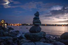 vancouver_baylightning_rx1r_srgb (alexcorll) Tags: english bay englishbay vancouver bc flowers grass nature sony zeiss rx1r 35mm f20 sonnar lightning storm night rocks cairn ocean city bokeh