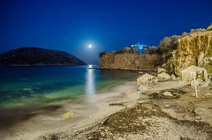 Moonlight (.noctifer) Tags: night moon moonlight sea sky stars cliffs water beach rocks island greece greek attica mediterranean agean outdoor grit umbrella summer