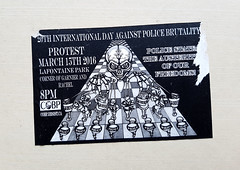 Police Brutality Protest (Exile on Ontario St) Tags: montral police policiers cop lawenforcement montreal brutality abuse law enforcement department cops policier brutalit abus cobp comit oppos policire state freedom austerity twentiest 20e protest manif manifestation manifestants protesters protesting sticker collant autocollant stickers activist activism rights people skull skeleton puppet puppets camera surveillance authority power pouvoir freedoms droits dfense agents officers antiriot