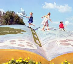 The book (sinkalyagas) Tags: kids moment mood sky cloud book sun color film mediumformat mamiya rz67 120mm sekor kodak ektar