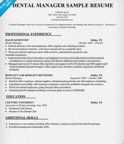 dental office manager resume sample - Dental Office Manager Resume