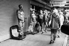 The bronze bomber awaits. Seattle, WA. September 2016. (poopoorama) Tags: dannyngan dannynganphotography fujifilm pikeplacemarket seattle xseries x100t busker market performer street streetphotography washington unitedstates