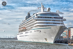 Crystal Clear (alun.disley@ntlworld.com) Tags: crystalcruises crystalsymphony cruiseliverpool cruiseliner ship transport rivermersey liverpool merseyside uk weather windfarm sky clouds portsandharbours berth tourism city