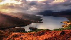 Glorious Golden Glows. (ABel-Photo) Tags: scotland highland trossachs landscape autumn fall native golden weather sun mountain loch katrine