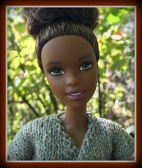 Ready for Fall (Foxy Belle) Tags: doll barbie made move 2016 yellow top black outside nature leaves sweater fall knit hand