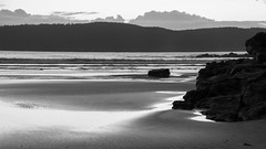 Dawn at the beach (Merrillie) Tags: daybreak uminabeach sand landscape nature australia mountains nswcentralcoast newsouthwales sea nsw beach ocean centralcoastnsw umina dawn photography waves outdoors seascape waterscape centralcoast water sunrise rocks monochrome blackandwhite