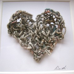 Paper wedding anniversary - knitted newspaper yarn (Zygotegifts) Tags: wedding paper newspaper heart anniversary knit craft yarn knitted papercraft folksy paperwedding paperyarn paperweddinganniversary newspaperyarn zygotegifts goodnewsfrombad