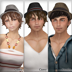 "New Arrival - ""Casey"" and ""Crosby"" (ARGRACE) Tags: men fashion hair women sl secondlife fedora strawhat argrace"