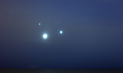 Conjunction at the Pleiades (lrargerich) Tags: morning sky moon sunrise river dawn star venus nightscape events horizon july astrophotography planet planets astronomy jupiter taurus pleiades 2012 aldebaran skywatch conjunction hyades twilightscape july2012 july152012 20120715