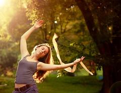 Dancing in the sunlight! (Noelle Buske) Tags: light sun sunlight motion self golden dance nikon arms lensflare ribbon d40