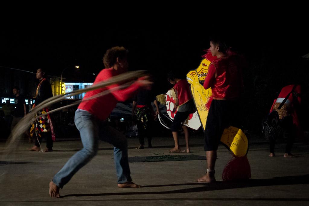 Whipping during Kuda Kepang / Kuda Lumping dance