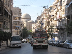 Syrian Bus in Aleppo (Alexanyan) Tags: auto street bus church republic traffic kirche christian arabic chiesa arab syria vehicle eglise aleppo syrian   halab middleast