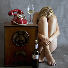 depressive (Dark(o)) Tags: girl radio wine telephone depressive