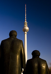 Marx and Engels (Joe Dunckley) Tags: berlin germany deutschland towers statues fernsehturm transmitters