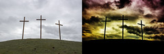 Before & After - Scorched (Hayn0r) Tags: sky silhouette photoshop canon easter religious eos christ cross shot symbol dramatic crosses before after 365 symbols beforeafter symbolism scorched day136 600d 365days