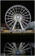 Liverpool Wheel at Night (Andrew Nickson) Tags: uk england reflection wheel night liverpool photography lights photo neon echo ferris andrew symmetry arena merseyside nickson