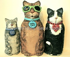 three fine felines (GinnyDiezelStudios) Tags: cats cat feline kitty kitties felines tuxedocat papiermache graytabby sculpted papermache browntabby pfatt pfattmarketplace pfattupdate