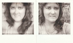 PX 100 self-portrait diptych (EllenJo) Tags: selfportrait sx70 diptych 2012 px px100 instantfilm august7 selfportraitatarmslength age40 ellenjo bornin1972 ellenjoroberts silvershade impossibleproject theimpossibleproject