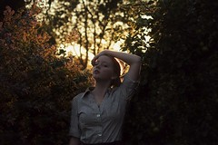 Finally (Charlotte Catherine) Tags: trees light sunset orange sun selfportrait colour green girl leaves contrast self hair happy gold golden evening petals warm glow purple bokeh yes stripe warmth petal colourful collar clone bushes goldenhour stripy summersun canoneos550d charlottecatherine yesyesyesysafeaf