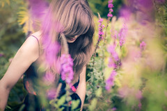 Saturdays=Youth (Maegondo) Tags: flowers woman plants nature colors girl fashion canon germany hair bayern deutschland bavaria eos dof purple bokeh candid 85mm depthoffield german teenager 18 creamy spontaneous ingolstadt dramy 5dmkii