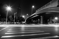 A Streak Under the Bridge (Explore; Highest Position #78) (B.W. Chin) Tags: china street longexposure bridge light streets night canon nightshot streak wideangle trail l 5d lighttrails nightscene tianjin lightstreak 2470 canon2470f28l llens concessionarea canon5dmarkii