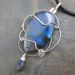 Cobalt Flash Labradorite (AshleighAnnette) Tags: blue silver fire wire cab flash vivid wrapped iridescent sterling pendant filigree labradorite cabochon briolette