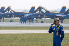 Saluting Capt. Jeff Kuss (Skeeter Photo) Tags: wisconsin salute captain blueangels wi capt eauclaire remembering saluting narrator honoring 2015 chippewavalleyairshow jeffkuss