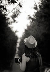 evening walk (rxndr) Tags: blackandwhite monochrome back trees alley firtrees fir girl nature