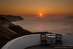 Sunset Over the Caldera in Santorini, Greece