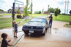 365 Project - August 24 (lupe1515) Tags: 365 project car wash mustang dad son spray hose wet water driveway aj jim