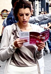 What to do in Amsterdam ? (Franc Le Blanc .) Tags: panasonic lumix girl streetphoto candid reading booklet amsterdam